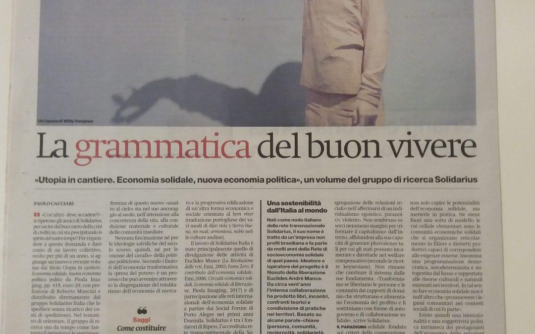 """La grammatica del buon vivere: Paolo Cacciari presenta """"Utopia in cantiere"""" sul Manifesto"""